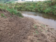Heavily poached section of Esk river bank - used by cattle to access drinking water.