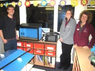 Salmon in the Classroom - Simon with Sue and Heather from the National Park's Education Team.