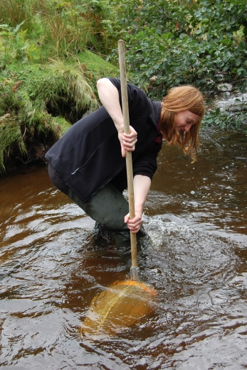 Photos from 2013/14 - Sam kick sampling in Baysdale Beck