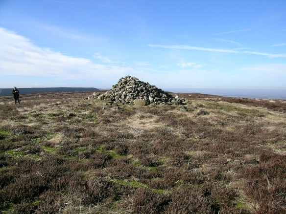 Round barrow on line of the Cleveland Way - with very large modern walkers' cairn on top - copyright NYMNPA
