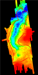 TEL LiDAR coverage map, coloured based upon broad elevation, showing the LiDAR survey area over the Murk Esk and the TEL data limits bordered in red. Bluesky/NYMNPA.