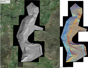 Murk Esk LiDAR coverage in grey-scale overlain upon Google Earth map using virtual shading to highlight relief (with lighting from the south-east ) and in multi-shaded format in which virtual lighting from different directions is coloured differentially to enhance feature visibility. Bluesky/NYMNPA.