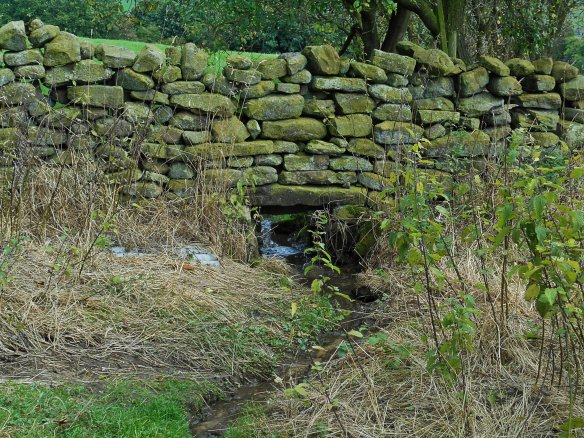 Gap built into drystone wall for beck - copyright NYMNPA