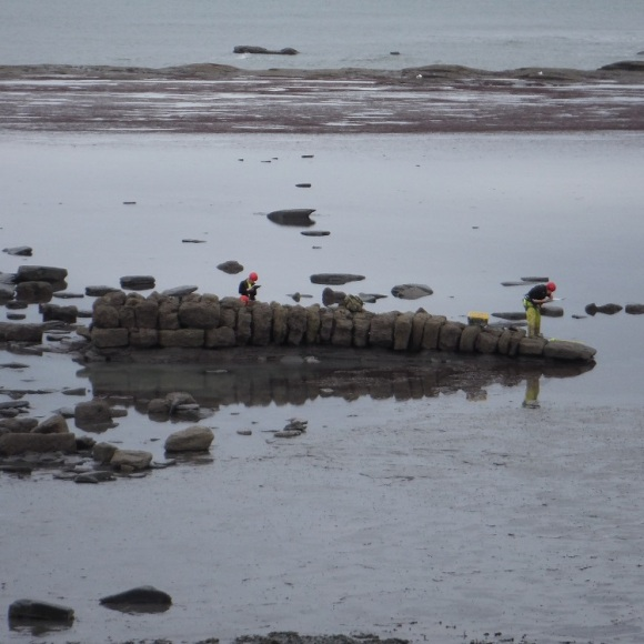 Recording the foreshore slipway at Saltwick - copyright ARS Ltd.