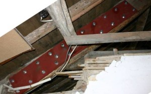 Mild steel plate to strengthen existing rafter. Copyright NYMNPA.