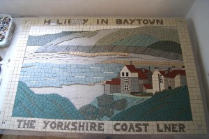 One of the mosaic boards being made - this one illustrates the famous Victorian postcards. Image - Sea Life, See Life Project.