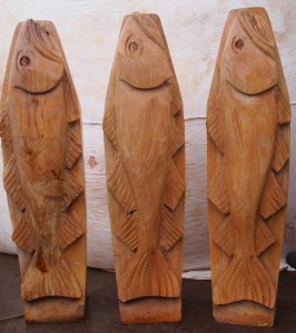 The three carved fish posts to be installed at Bank Top car park. Image - Sea Life, See Life Project.