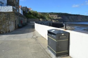 The Sea wall today; a blank canvas ready for the new mosaic celebrating Robin Hood's Bay. Image - Sea Life, See Life Project.
