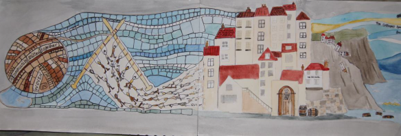 This sketch represents the tightknit community within the 'higgledy-piggledy' narrow streets and fisherman cottages as the harsh sea erodes the cliffs. Image - Sea Life, See Life Project.