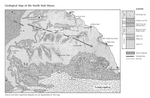 From Geology of the North York Moors by Alan Staniforth, North York Moors National Park 1990