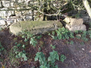 Handale Abbey - mediaeval cross shaft base and tomb lid - copyright NYMNPA.