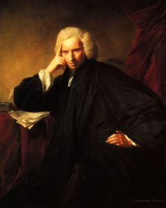 Portrait of Laurence Sterne by Joshua Reynolds, 1760. Being painted by Joshua Reynolds is confirmation that Sterne was definitely a celebrity of his age. Laurence Sterne Trust.