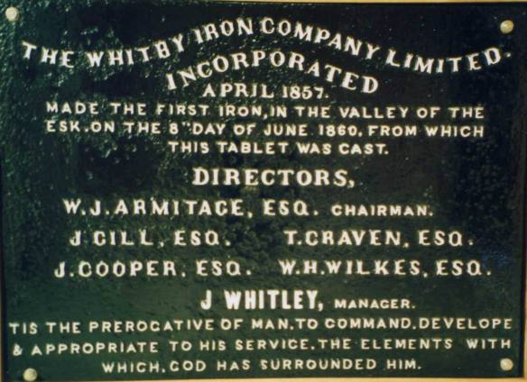 WICL commemorative tablet - thanks to the Whitby Museum.