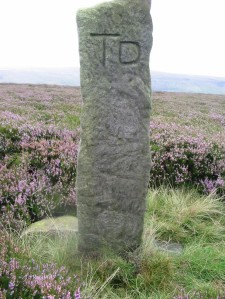 Example of a boundary stone on the North York Moors.