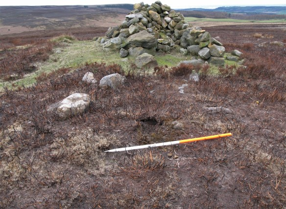 'Codhill Heights' - walkers' cairn and shelter built up on round barrow on Gisborough Moor. You can see a hole next to the scale pole where a stone has been pulled out of the burial mound. Copyright M Johnson.