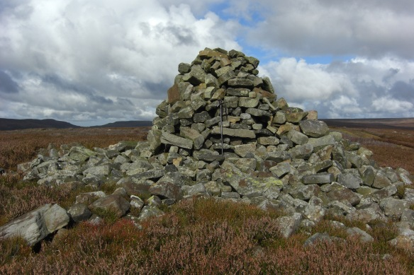 An even larger walkers' cairn on a round barrow above Bilsdale. Copyright S Robson.