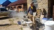 Nigel Copsey leading a hot (very hot) lime workshop. Copyright TELoI.