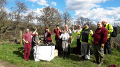 NPA Volunteers celebrating the completion of yet another woodrush planting task in Esk Dale. Woodrush helps revegetation and therefore stabilises river banks. Copyright TELoI.