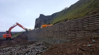 Rosedale Railway landslip repair work, Winter 16/17 - the last few gabion baskets go in. Copyright TELoI.