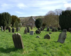 View of the Rosedale Abbey Primitive Methodist Chapel, in close proximity to the Church of England church and churchyard. Copyright Rosedale History Society.