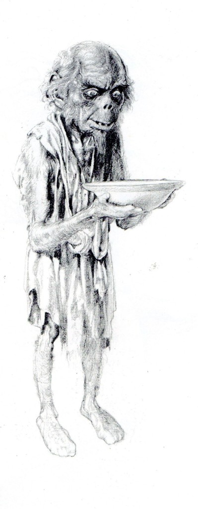 An artist's impression of a 'Brownie', another name for a Hob. Copyright Brian Froud and Alan Lee (Faeries, 1978, Rufus Publications)