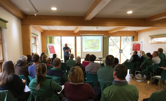 Richard presenting to an end of term meeting of Turtle Dove volunteers, Dalby Visitor Centre 2017. Copyright NYMNPA.
