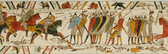 Scene from the Bayeux Tapestry showing the Battle of Hastings - GettyImages-79521159-H