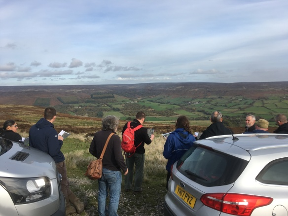 Looking down over woodland creation projects in Bilsdale, TWOG visit Oct 2018. Copyright NYMNPA.