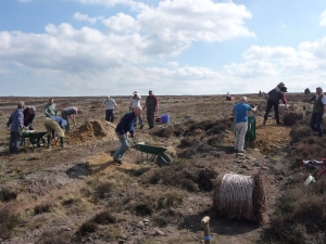Volunteers carrying out repairs on Danby Rigg. Copyright NYMNPA.
