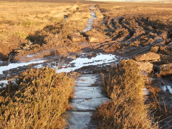 'Quaker's Causeway' on High Moor, damaged by vehicles crossing - copyright NYMNPA