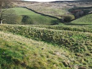 The earthwork ramparts at Round Hill hillfort. Copyright NYMNPA.