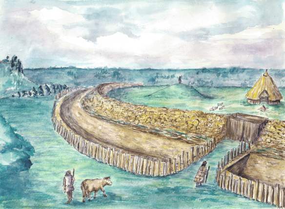 Reconstruction drawing of the defensive banks and ditches at Boltby Scar promontory fort. Copyright NYMNPA.