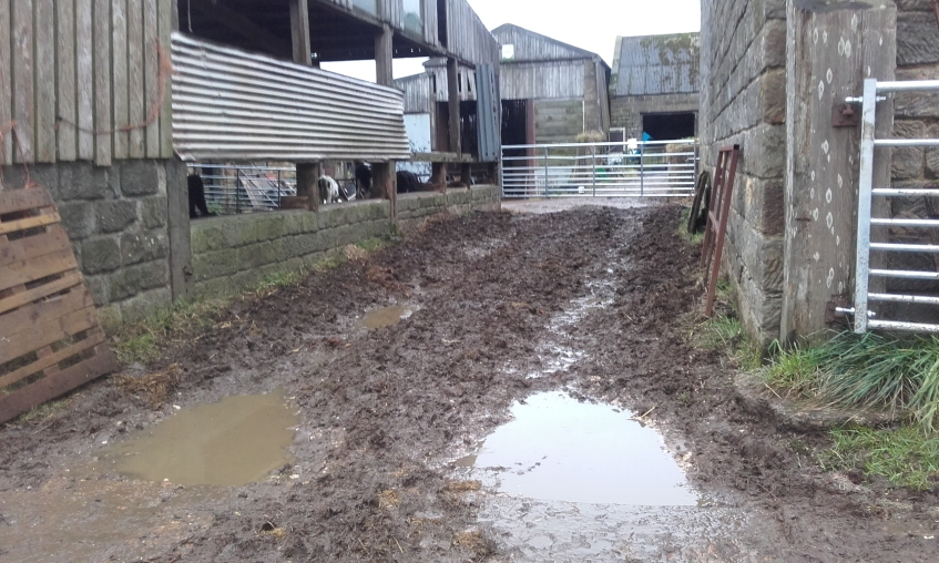 Area of farm yard which consisted of an earth base, which is a potential source of fine sediment, also very hard to keep clean and free of livestock manure and slurries. Copyright NYMNPA.