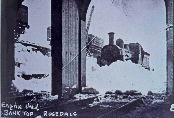 Rosedale Bank Top - severe winter drifting outside the engine shed (a William Hayes photograph courtesy of Malcolm Bisby)