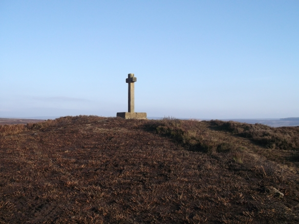 Ana Cross on round barrow with erosion repair carried out under Monument Management Scheme. Copyright NYMNPA.