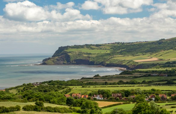 Ravenscar is in the distance on top of the headland. Credit Ebor Images.