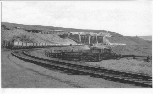 Rosedale East new mines highlighting the top and bottom trackways to deliver the ironstone into the kilns and to take it away once it has been purified. Photograph courtesy of the Rosedale History Society Archive.