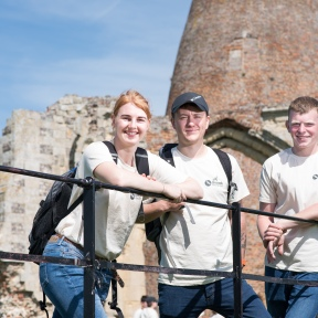 National Parks apprentice exchange 2019. Young apprentices being given a guided tour around St Benets Abbey, near Ludham. Katy Foxford, Tom Hickey and Isaac Bury. Picture: James Bass Photography