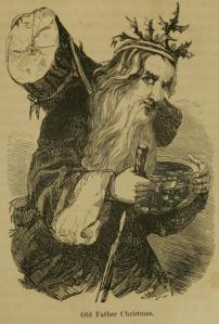 Image of Old Father Christmas with a holly crown and a yule log on his back. From Wikipedia.