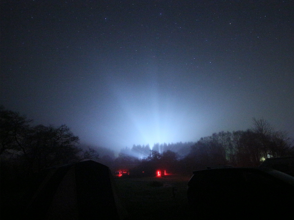 The impact of a single farm floodlight on the night sky during a stargazing event (image: Richard Darn)