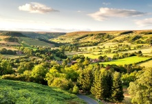 Evening light on Rosedale village and Northdale from Chimney Bank Credit RJB Photographic